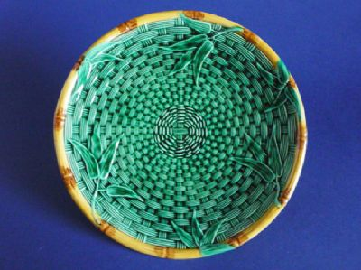 Rare Victorian Majolica 'Bamboo and Basket Weave' Plate c1870 (Sold)